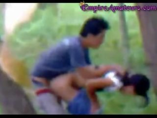 Chinese Couple Caught Fucking In The Woods
